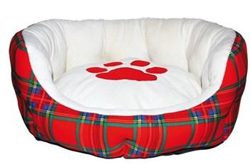 Pelíšek pro psy Scottish basket s tlapkou polstrovaný červený vnitřní rozměr 40 cm/ vnější 50 cm