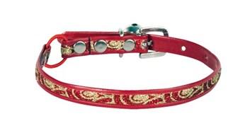 Obojek červeno-zlatý - luxusní - velikost 30 cm x 10 mm