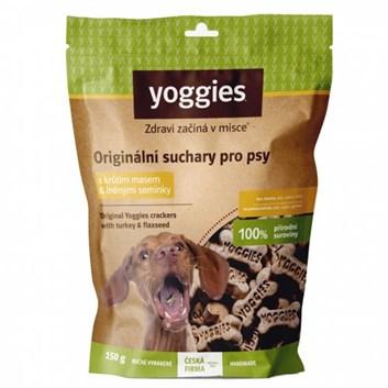 Yoggies bezlepkové suchary pro psy s krůtím masem a lněným semínkem 150 g