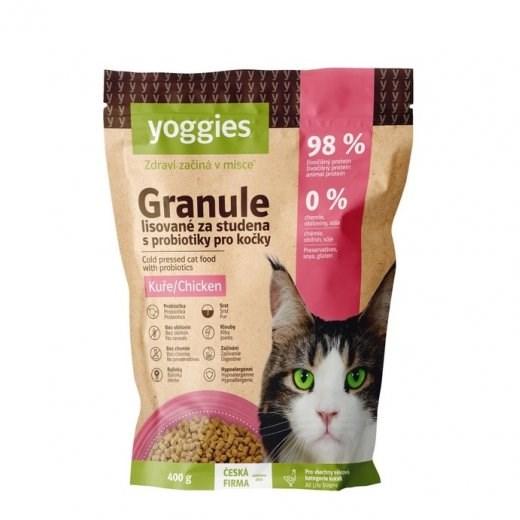 Yoggies Granule pro kočky s kuřecím masem, lisované za studena 400 g