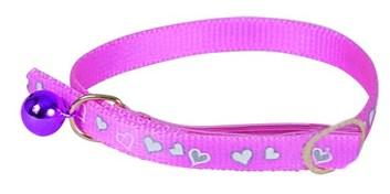 Obojek pro kočky Heart Reflecting Pink 34 cm x 10 mm s rolničkou