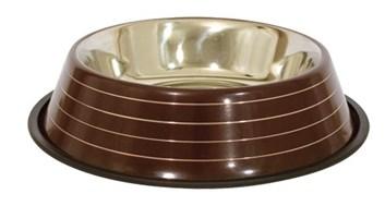 Miska pro psy hnědá - stříbrné proužky objem 0,7 l, velikost 21 cm