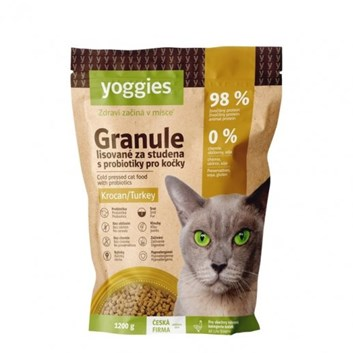 Yoggies Granule pro kočky s krocaním masem, lisované za studena 1,2 Kg