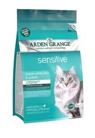 Arden Grange Adult Cat Sensitive: Ocean White Fish and Potato - grain free recipe 2 Kg