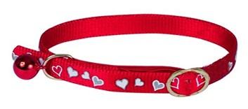 Obojek pro kočky Heart Reflecting Red 34 cm x 10 mm s rolničkou