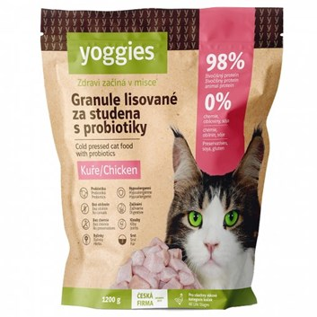 Yoggies Granule pro kočky s kuřecím masem, lisované za studena 1,2 Kg