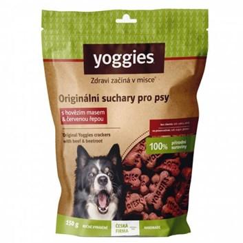 Yoggies bezlepkové suchary pro psy s hovězím masem a červenou řepou 150 g