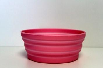 Silikonová skládací cestovní miska růžová průměr 13,6 cm