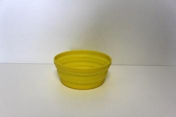 Silikonová skládací cestovní miska žlutá průměr 13,6 cm