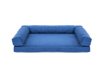 Aminela pelíšek s okrajem 80x60 cm Half and Half modrá/světle šedá