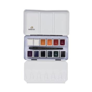 Royal Talens, 05838694, Rembrandt, sada mistrovských akvarelových barev, 12 pánviček, Opaque white & mixing
