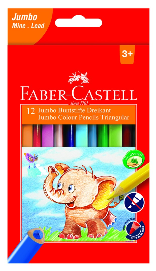 Faber-Castell, 116501, sada trojhranných pastelek Extra Jumbo, 12 ks