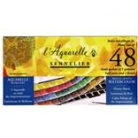 Sennelier, 131607, L´ Aquarelle, mistrovské akvarelové barvy, 48 ks 1/2 pánviček