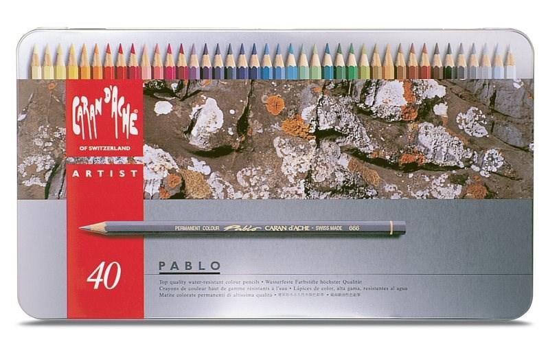 Caran d'Ache Pablo 40 kusů. Umělecké pastelky nejvyšší kvality. Dopřejte si luxusní zážitek během malování.