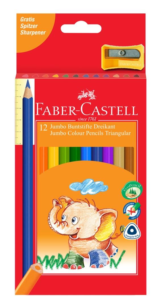 Faber-Castell, 116614, Eco Jumbo, sada trojhranných pastelek, 12 ks