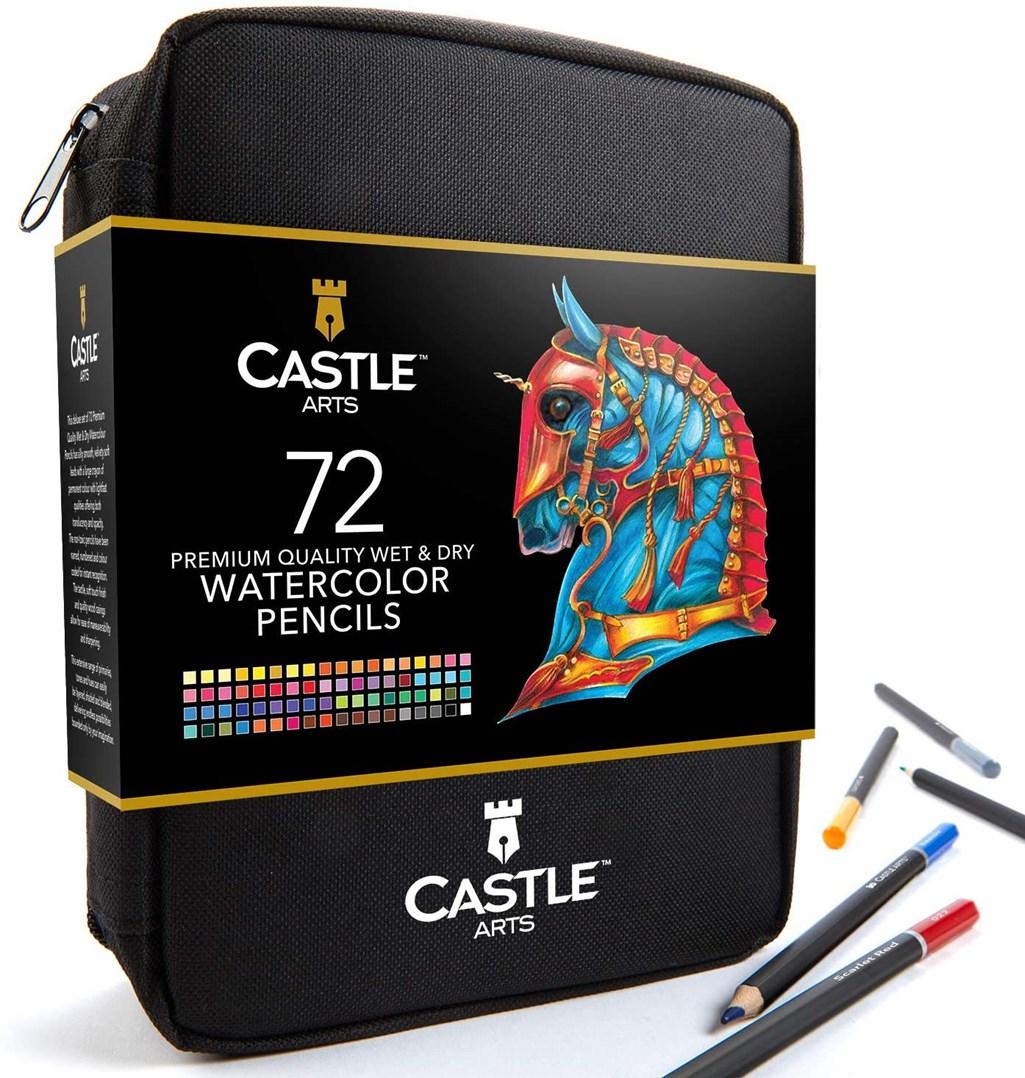 Castle art supplies, CAS-72WPZ, Watercolour Pencils Set, sada akvarelových pastelek v pouzdře, 72 ks