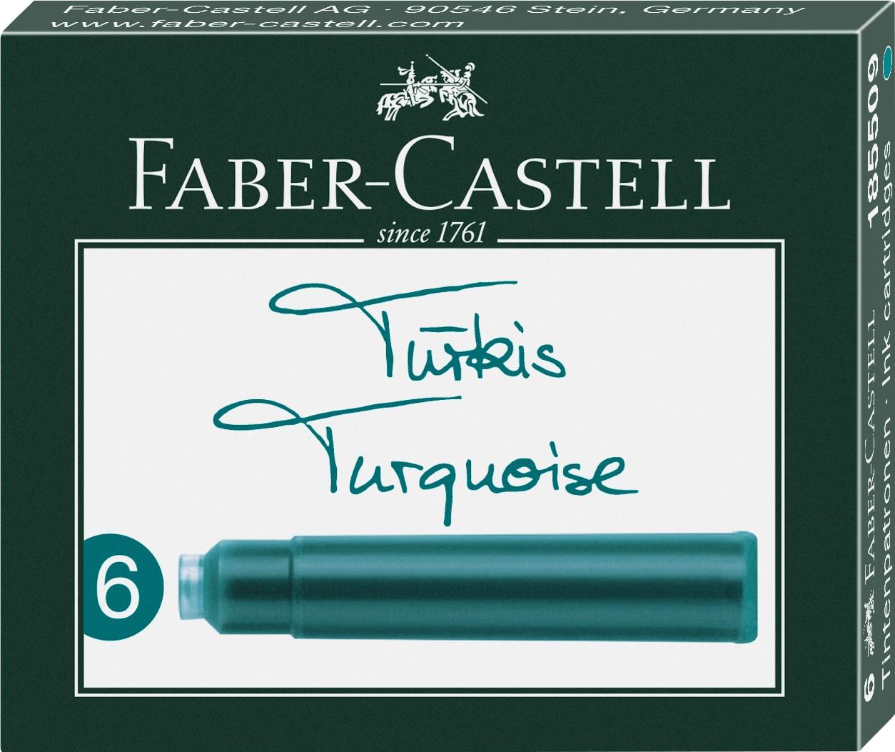 Faber-Castell, 185509, náhradní náplně do pera (bombičky), tyrkysová, 6 ks