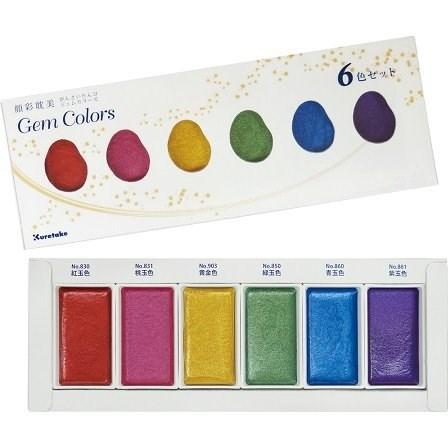Kuretake, MC20GC/6V, Gansai Tambi, perleťové akvarelové barvy, 6 odstínů, metalické Gem colors