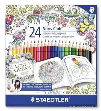 Staedtler, 144 D36JB, Noris Club, pastelky, limitovaná edice Johanna Basford, 24 ks