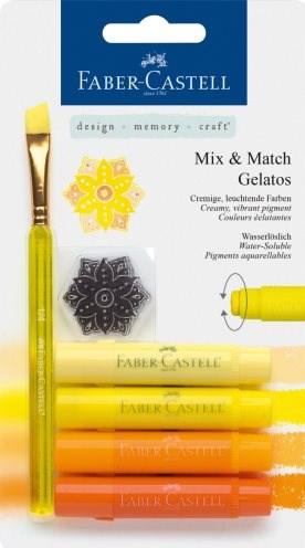 Faber-Castell, 121801, Gelatos, akvarelové křídy, 4 ks a doplňky, žlutá sada