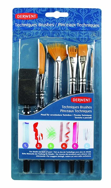 Technique Brush Set, sada 6 štětců, Derwent