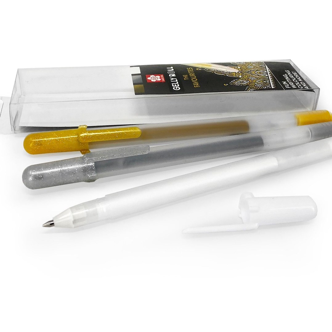 Sakura, XPGBMIX3A, Gelly roll metallic gold-silver-white set, sada gelových per, 3 ks