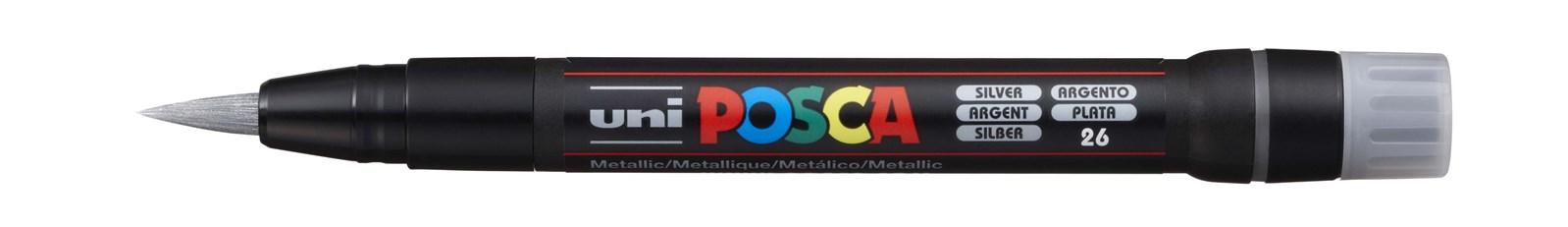 Uni ball, PCF-350, Posca, akrylový popisovač se štětečkovým hrotem, 1 ks, stříbrná