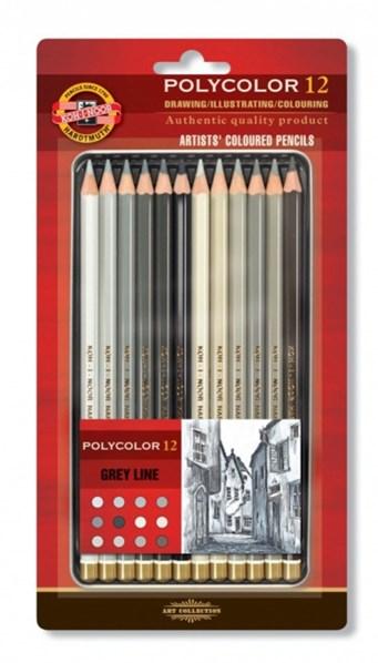 Koh-i-noor, 3822012013BL, Polycolor, souprava uměleckých pastelek, speciální řada, šedá 12 ks