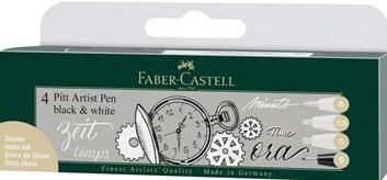 Faber-Castell, 167151, PITT artist pen, sada popisovačů, bílá/černá, 4 ks