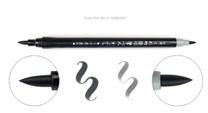 Kuretake, DG141-6B, Fude pen No.6, Kabura , oboustranný Brush pen, štětečkový popisovač, černá/šedá, 1 ks
