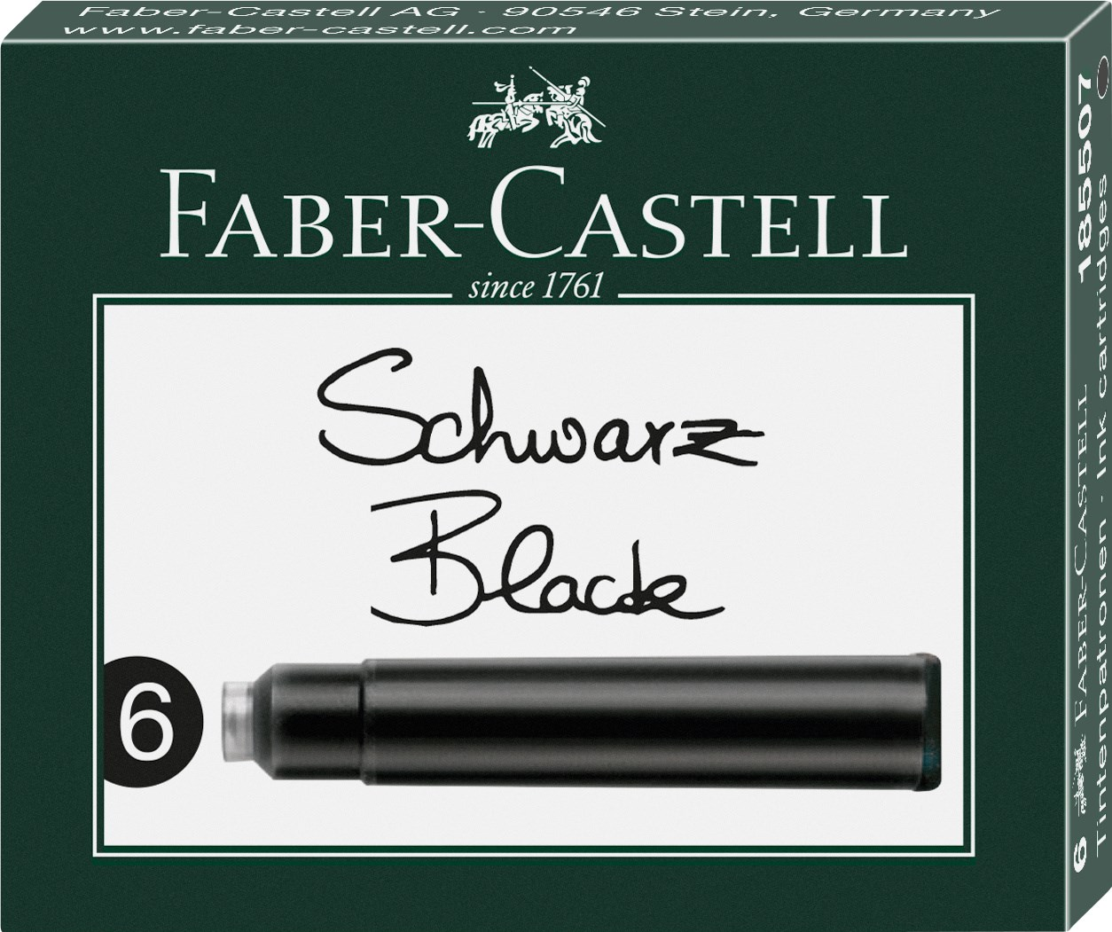 Faber-Castell, 185507, náhradní náplně do pera (bombičky), černá, 6 ks