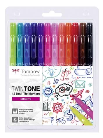 Tombow, WS-PK-12P-1, Twintone, oboustranné popisovače, Bright tone, 12 ks