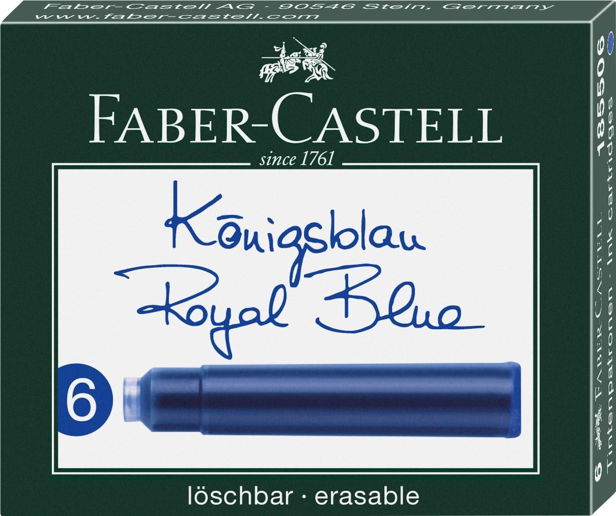 Faber-Castell, 185506, náhradní náplně do pera (bombičky), modrá, 6 ks