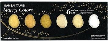Kuretake, MC20SC/6V, Gansai Tambi Starry Colors, metalické akvarelové barvy, 6 odstínů zlaté