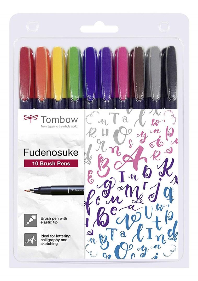 Tombow, WS-BH-10P, Fudenosuke brush pen, sada štětcových popisovačů, 10 ks