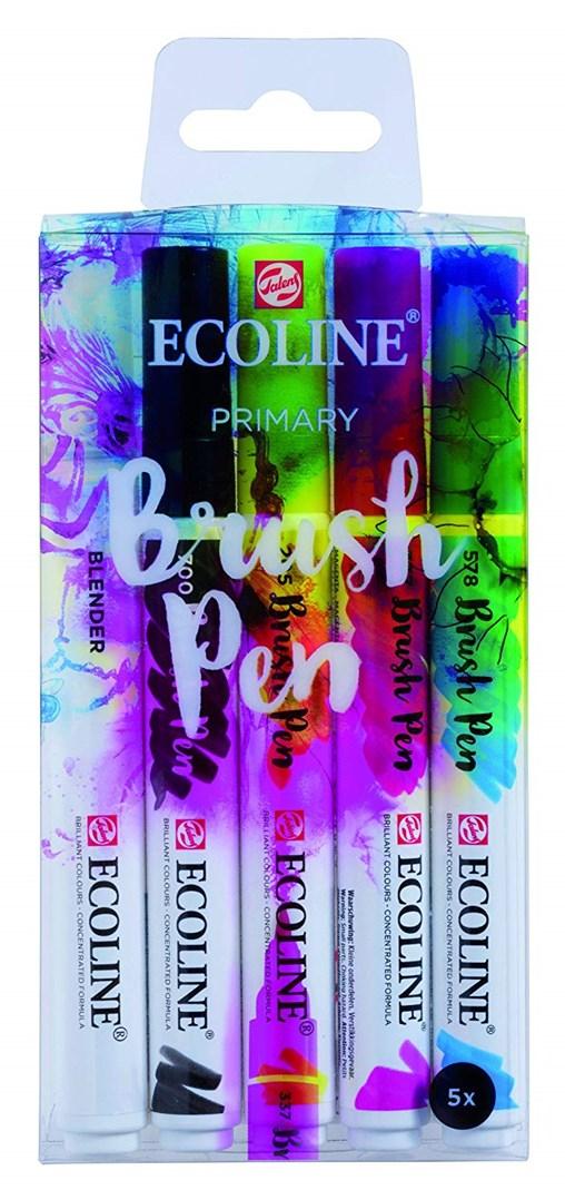 Royal Talens, 11509907, Ecoline brushpen set, sada štětečkových akvarelových popisovačů, primary, 5 ks
