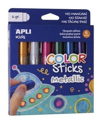 APLI, 14405, temperové tyčinky, metalické barvy, 6 ks