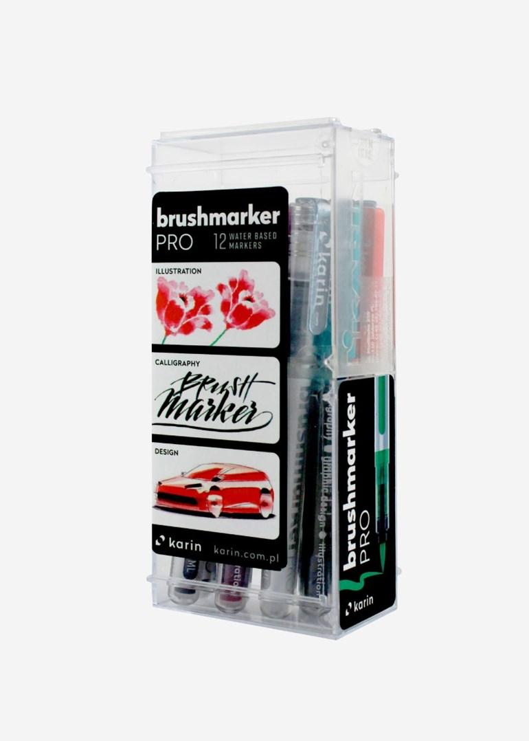 Karin, 27 C, brushmarker pro, sada štětečkových popisovačů, 12 ks, basic colours set