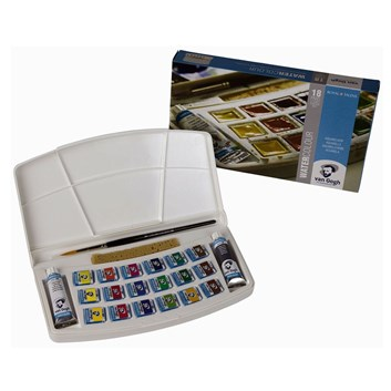 Royal Talens, 20808618, Van Gogh, sada akvarelových barev, 1/2 pánvičky, 18 ks + 2 tuby