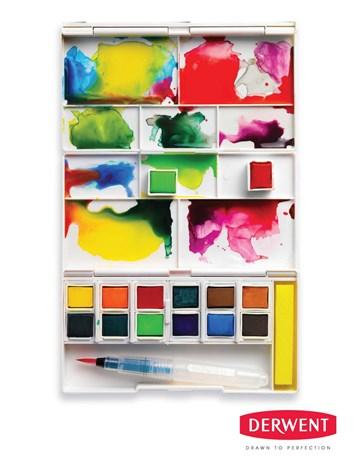 Derwent, 2302636, Inktense, akvarelové barvy v pánvičkách, cestovní set, 12 ks