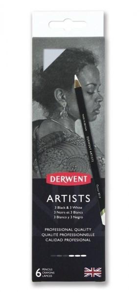 Derwent, 2302342, Artists Black & White, sada uměleckých pastelek, 6 ks