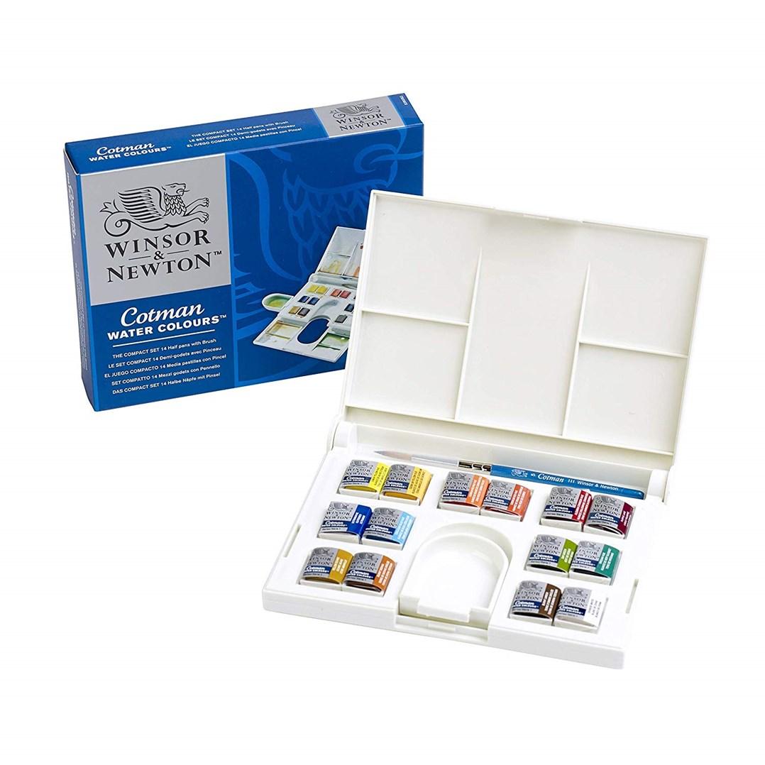 Winsor & Newton, 0390083, Cotman Watercolour The Compact Set, umělecké akvarelové barvy, 14 ks 1/2 pánviček se štětcem