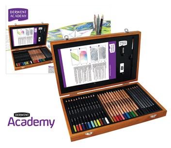 Derwent, 2300225, Derwent Academy, dárková sada pastelek a příslušenství v dřevěném kufříku, 34 kusů