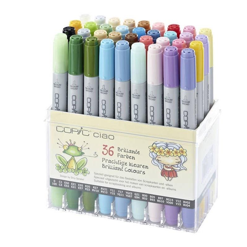 Copic, 22075436, Copic Ciao, oboustranné popisovače, Brilliant colours, 36 ks