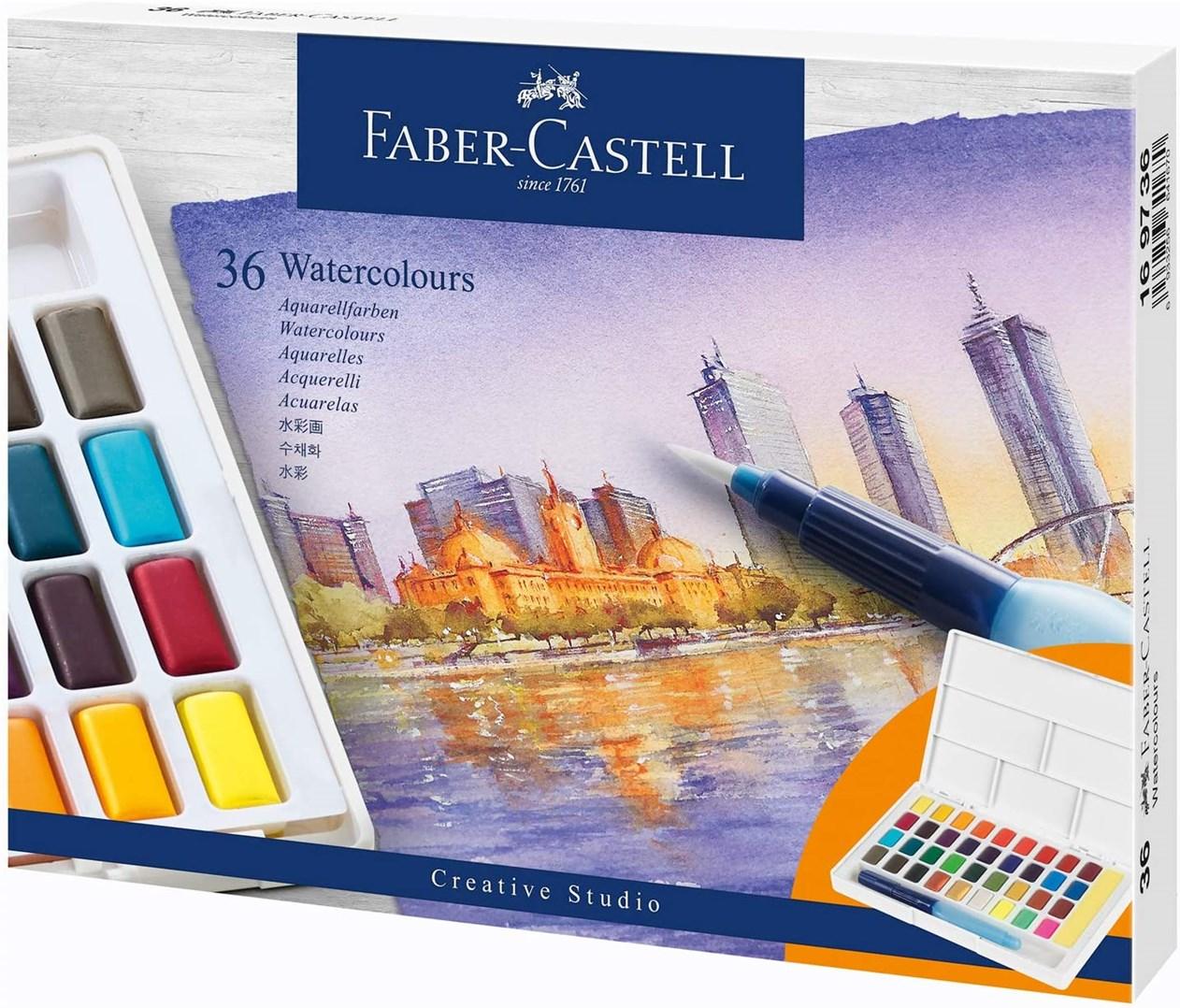 Faber-Castell, 169736, Creative Studio, akvarelové barvy v pánvičkách, 36 ks