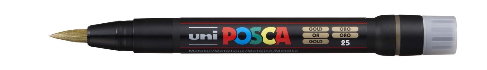 Uni ball, PCF-350, Posca, akrylový popisovač se štětečkovým hrotem, 1 ks, zlatá