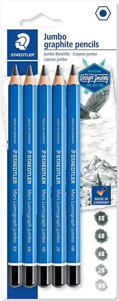 Staedtler, 100J-S BK5, Design Journey, sada Jumbo grafitových tužek Lumograph, 5 ks