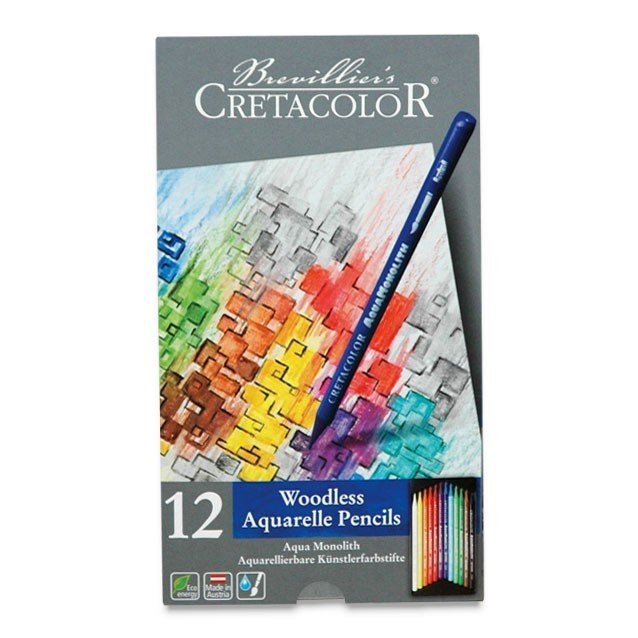 Akvarelové pastelky v laku Cretacolor, nejvyšší kvalita vodou rozmývatelných progress.