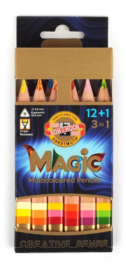 Duhové pastelky s multibarevnou tuhou v přírodním provedení vás budou bavit. Koh i Noor Magic.