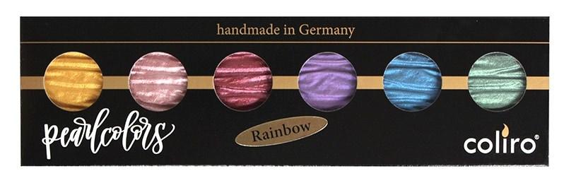 Coliro, M710, metalické, perleťové akvarelové barvy, 6 odstínů, Rainbow
